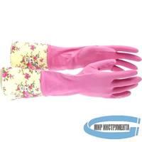 Перчатки хозяйственные латексные с манжетой, M// Elfe