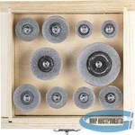 Набор мини-кругов с алмазным напылением на шпильке в пластиковом боксе ЗУБР ЭКСПЕРТ  10 предметов, d 16-40, P200, хвост. d 3мм