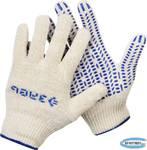 Перчатки х/б трикотажные с защитой от скольжения ЗУБР  12 класс, размер L-XL